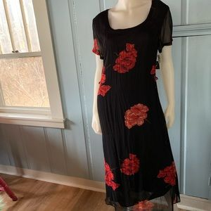 Vintage LOLA P 90s Flawed Floral Chiffon Dress